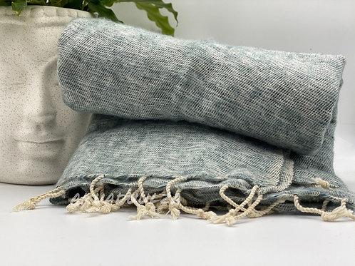Light Grey Yak Wool Nepalese Large Scarf