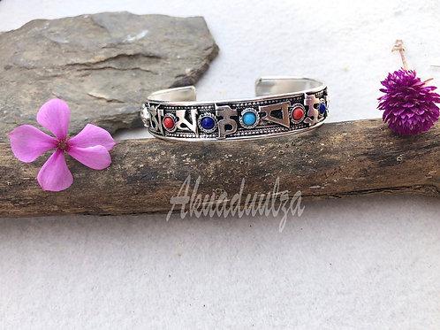 Ethnic Coral stone Cuff bracelet / Nepalese Bracelet / HIPPIE BOHO