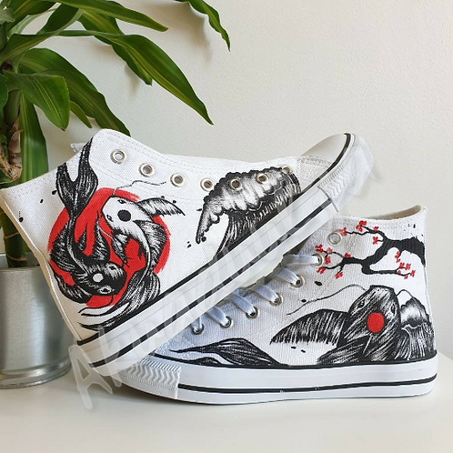 Japanese Koi Fish Hand Painted Shoes / Ying Yang Carp Shoes /