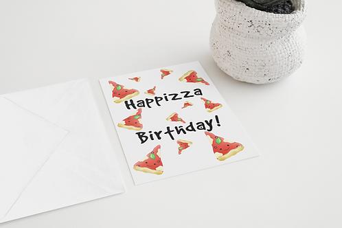 Happizza Birthday Handmade Greeting Card / A5 Card