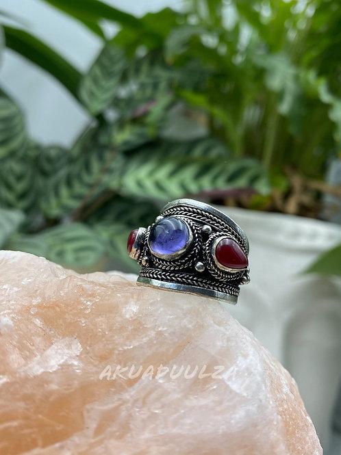 Three stone Purple Tibetan Ring / Hippie Boho Ring