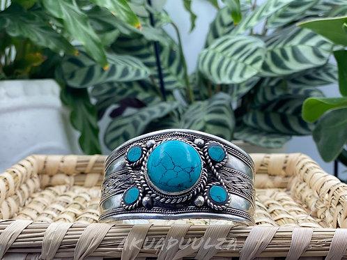 Turquoise stone Bracelet/ Handmade Nepali Bangle / HIPPIE BOHO