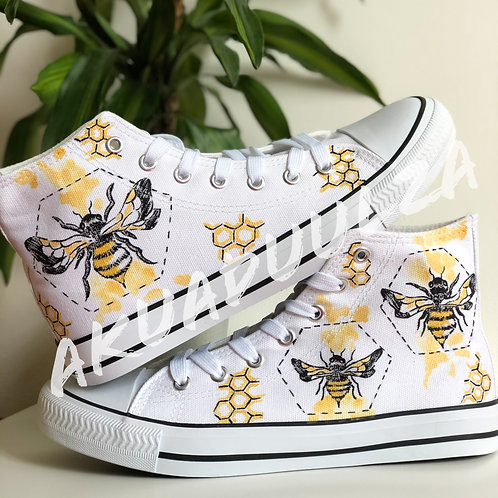 Golden Bee hand painted shoes / Bumble bee personalised canvas Shoes/ Honey bees