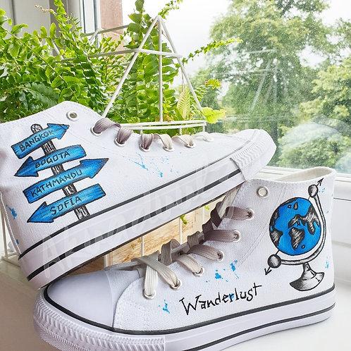 Wanderlust Hand Painted Shoes / Globe Personalised Shoes / AdventureTravel