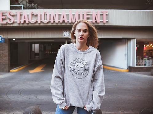 Hippie Sun And Moon Sweatshirt |Handmade Hippie Illustratio