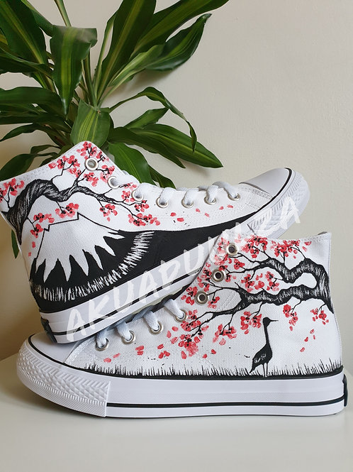 Hanami Art Hand Painted Shoes / Japan inspired illustration / Mount fuji Shoes