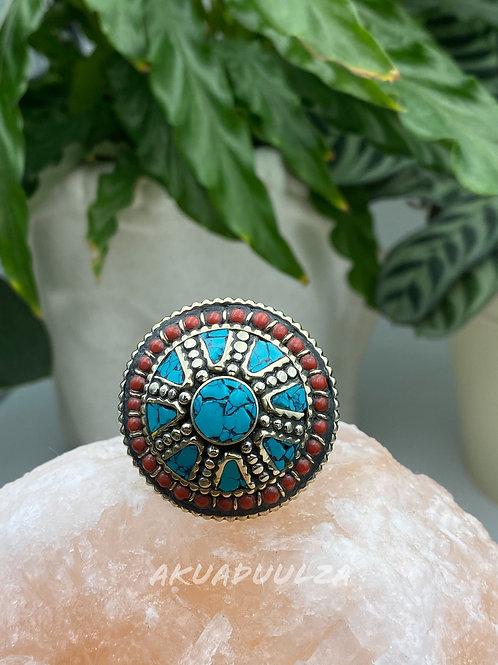 Turquoise Round Ring / Large ethnic Ring