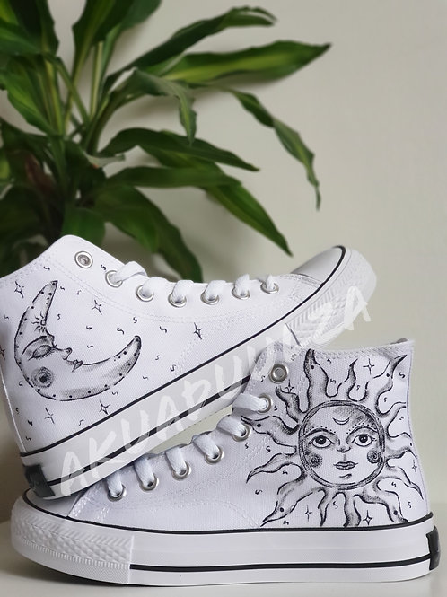 Sun and Moon Hand painted shoes / Stay Wild Moon child Personalised shoes