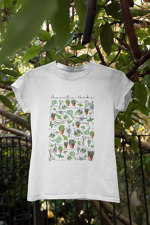 Aromatic Herbs T shirt | Handmade Wild Botanical Illustration