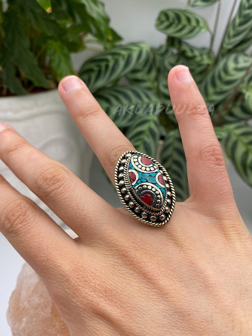 Turquoise marquise shape Ring / Ethnic Ring