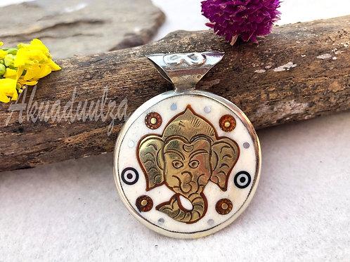 Reversible Ganesh Pendant / Om Mane Padme Hum