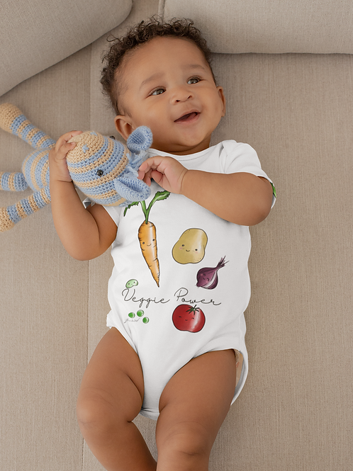Veggie Power Bodysuit | Handmade Baby Bodysuit | Cute Vegetables