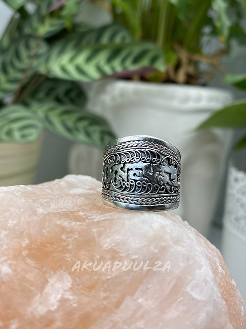 Buddhist Mantra Ring / bohemian Ring