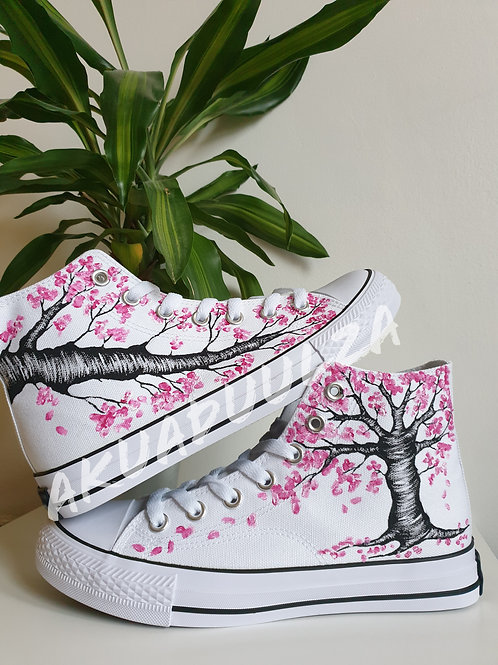 Cherry blossom shoes / Hand Painted Sakura Shoes / Japanese inspired gift ideas