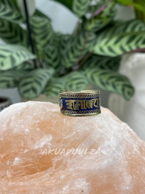 Newari Om mani padme hum Multicoloured Ethnic Ring