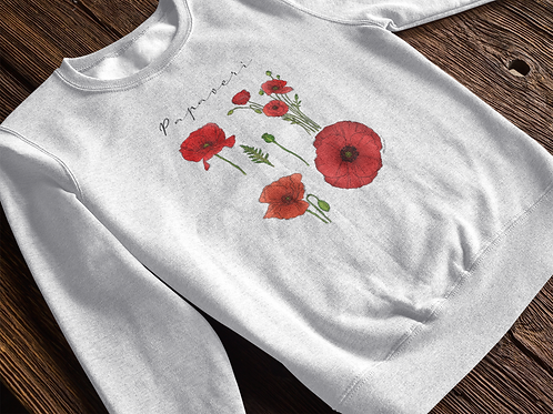 Poppy Sweatshirt | Handmade Wild Botanical Illustration