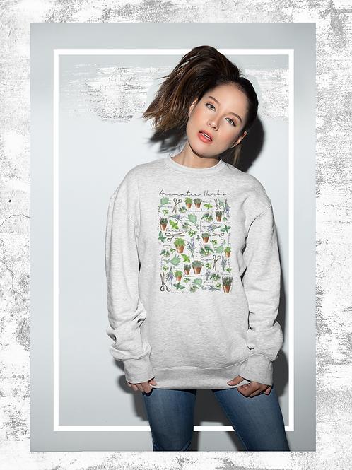 Aromatic Herbs Sweatshirt   Botanical Print  Handmade Hippie Illustration