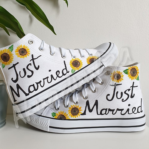 Sunflower Wedding shoes / Bridal Just Married custom shoes