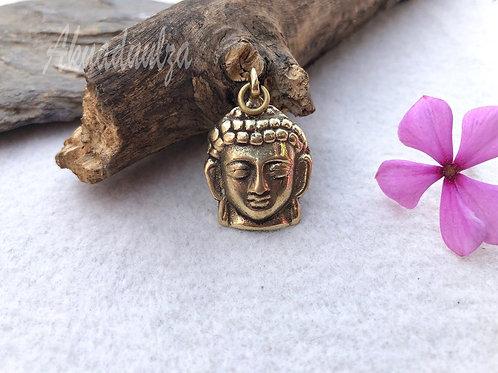 Buddha Pendant / Hippie Boho Necklace / Golden Buddha head