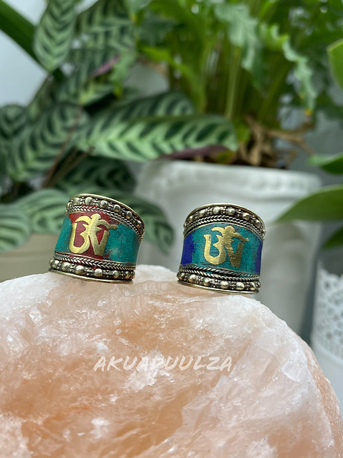 Multicoloured Om Tibetan Ring / Hippie Boho Ring
