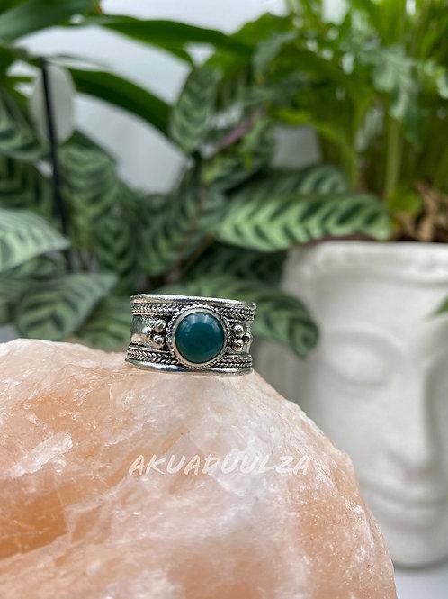 Ethnic green Stone ring / Bohemian ring
