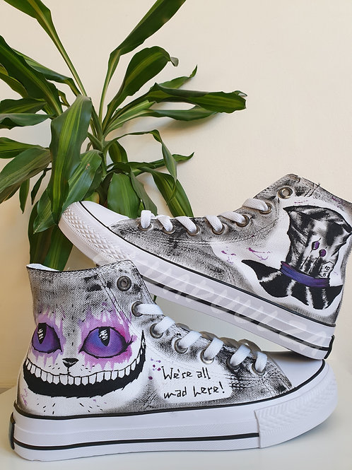 Purple Cheshire cat hand painted shoes / Alice in Wonderland Canvas Shoes