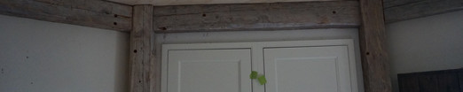 Reclaimed beams installed in kitchen