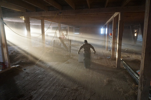 1st floor of main barn 1st day cleaning