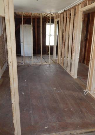 school room hallway and bathroom framed