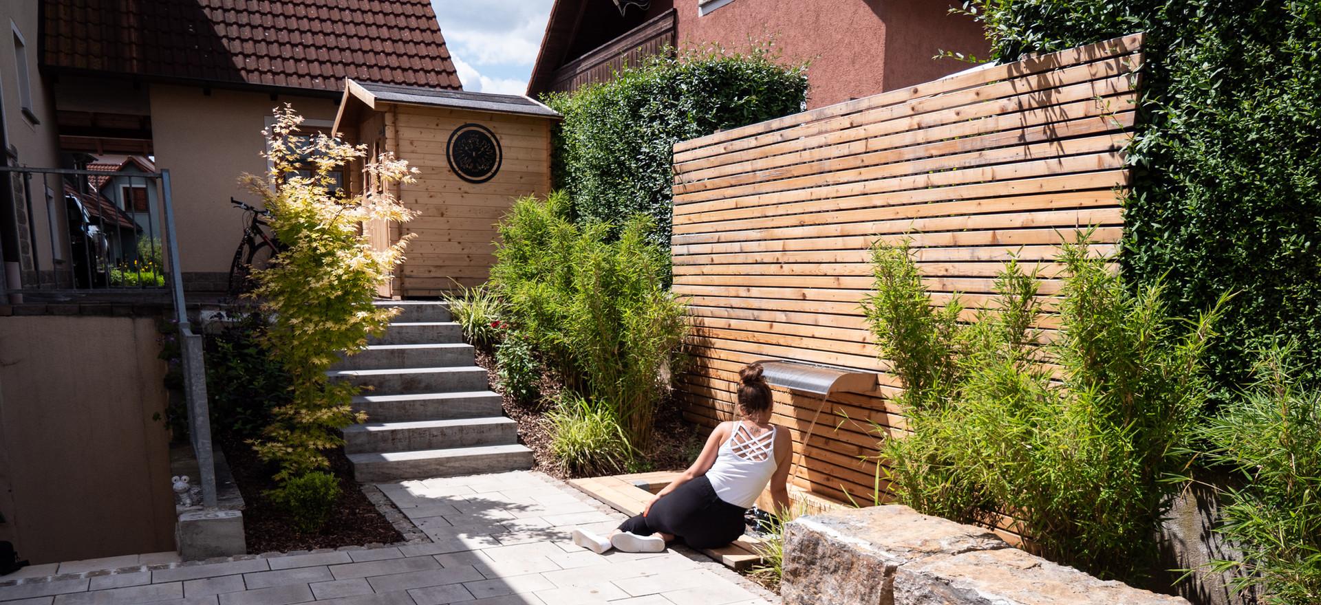 Gartengestaltung, Feuerplatz, Wasserspiel, Häußlein