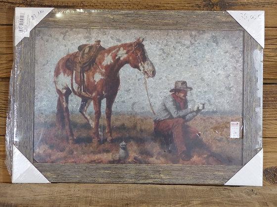Tableau Cowboy et Paint Horse