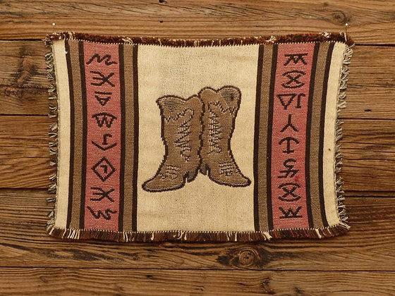 Set de table motif tissé jacquard et franges