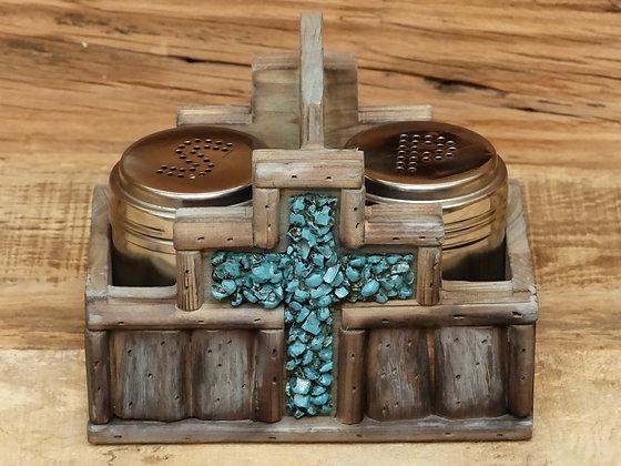 Support sel et poivre décor croix