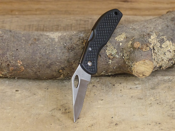 Couteau Manche plastique quadrillé clip métal