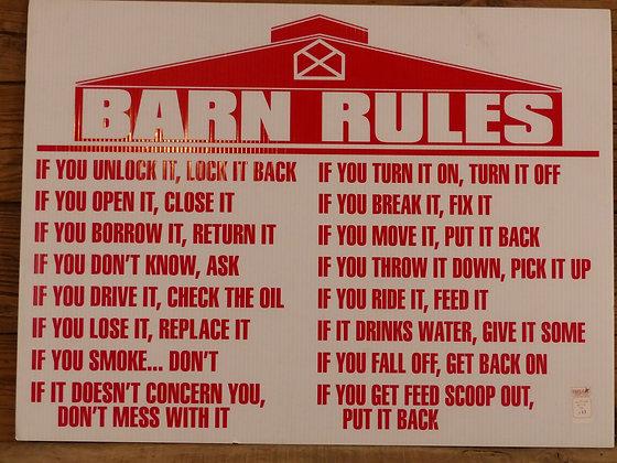 Panneau Barn Rules