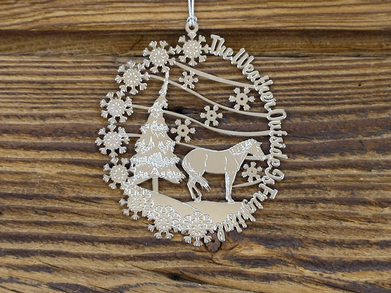 Boule de Noël Plaquée Argent Horse and tree