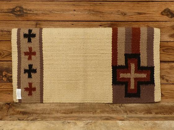Tapis en laine tissé Croix Beige / Brun