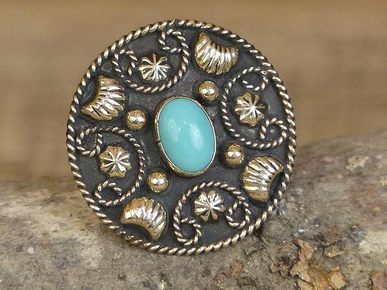 Attache foulard concho motif Rope et Turquoise