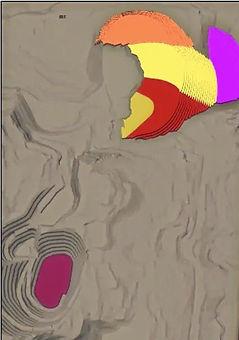 Open pit mine plan model software screen 3D image