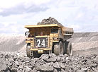 Mining truck hauling gold ore for proces
