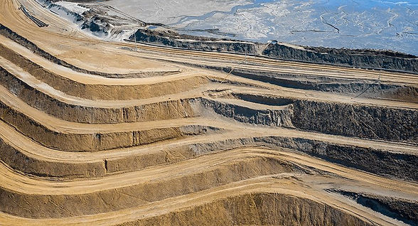 Mine site contours steps at surface pit