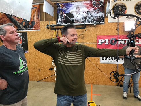 At Taylors Archery with master archer, Tracy Taylor