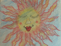 Watercolor pencils on paper box ~ 5 different Suns on each side of the box