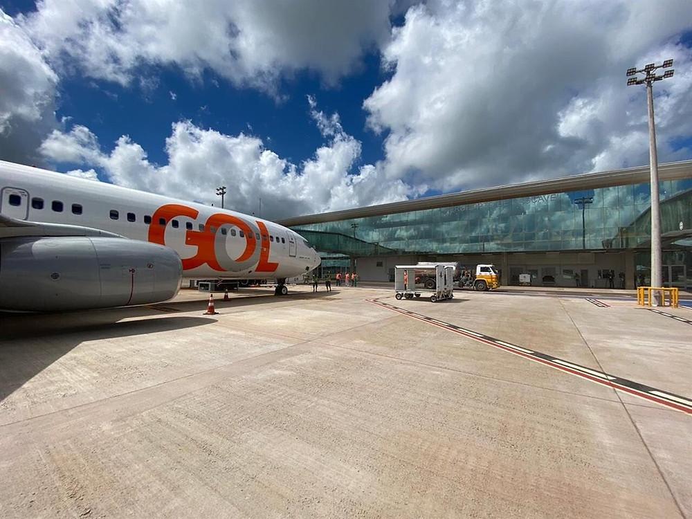 B737-800 da Gol no novo aeroporto de Cascavel