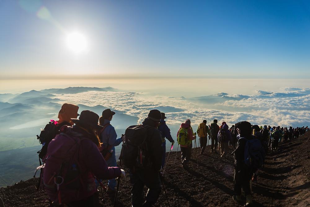 Caminho para subir o Monte Fuji