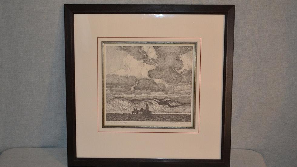 "E. Martin Hennings lithograph  ""Across the Sage"""