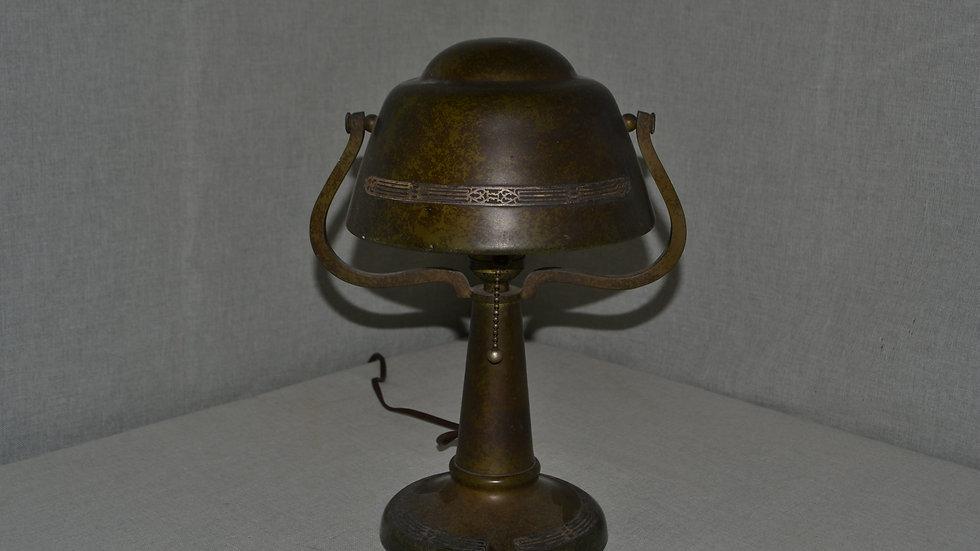 Heintz Lamp,  Green patina,  geometric pattern