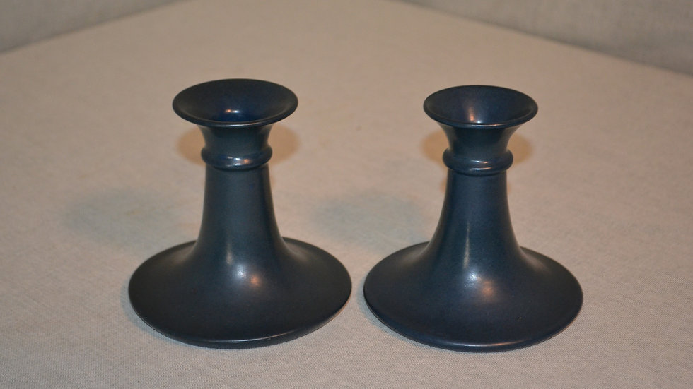 Marblehead candlesticks, pair,  dark blue glaze. signed