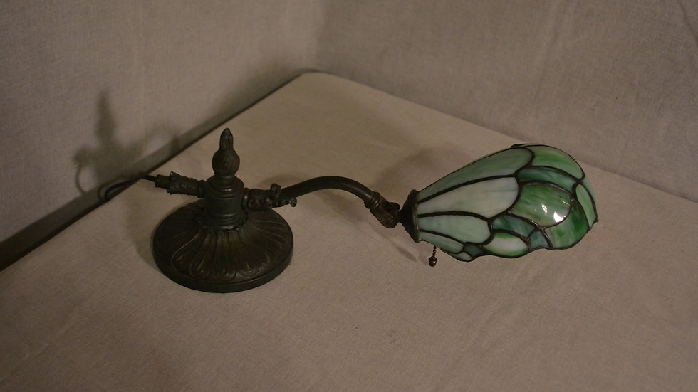 Piano lamp w leaded glass shade and cast base w/ green patina