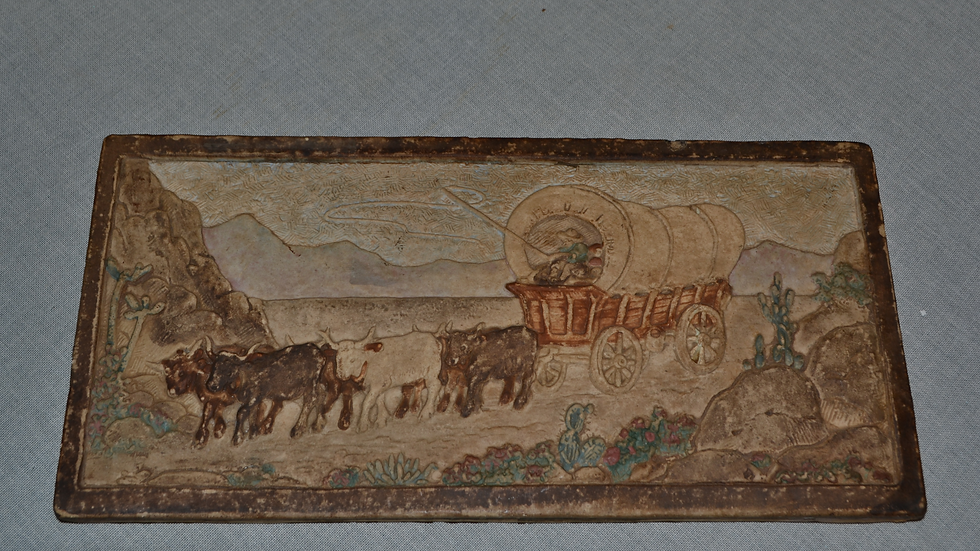 Tile by Claycraft.  Oxen & Wagon.